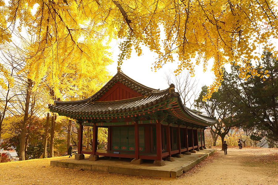 秋天的南漢山城全景