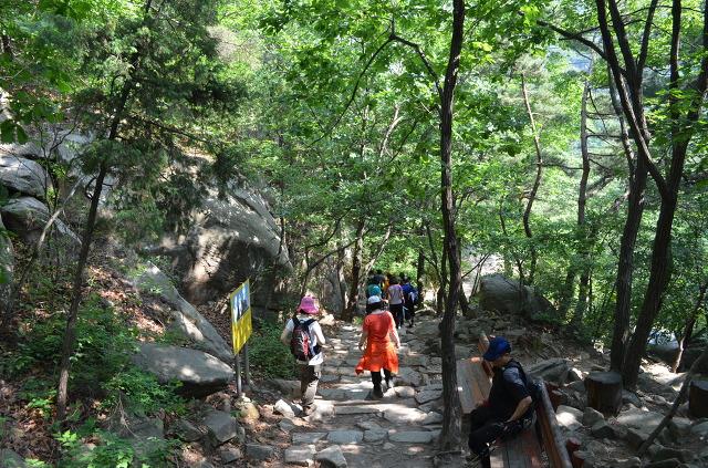 산을 내려가는 사람들의 뒷모습
