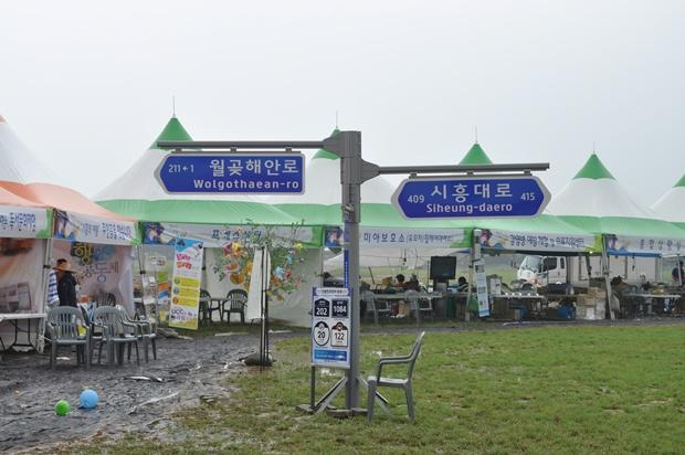 새주소 홍보관 앞에 월곶해안로와 시흥대로를 나타내는 도로표지판들