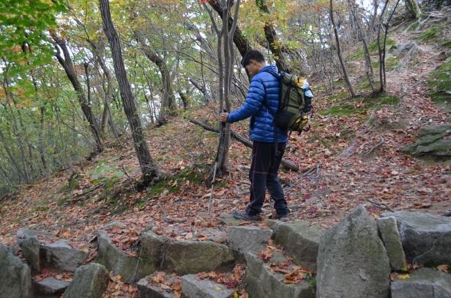 산길을 걷는 모습