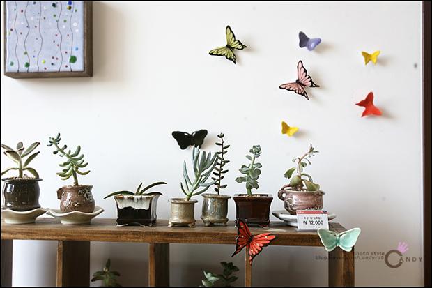 벽에 장식 된 나비조형물