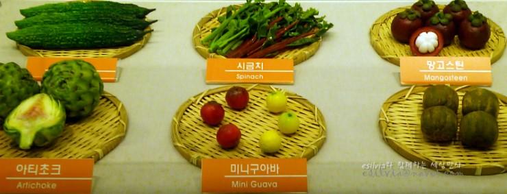 미니구아바, 망고스틴 등 과일 모형의 모습