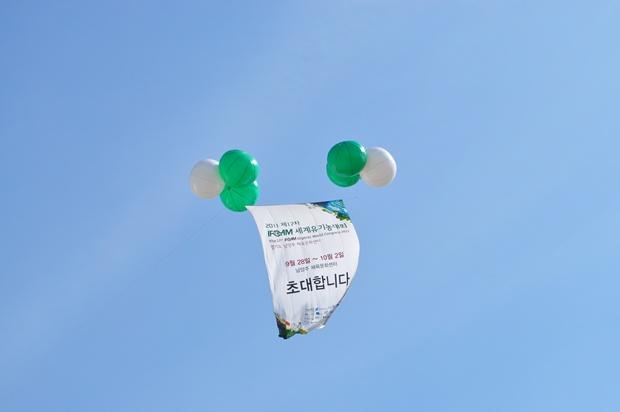 하늘에 떠 있는 풍선과 세계유기농대회 현수막