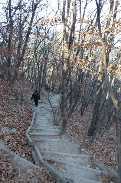 계단을 올라오는 등산객의 모습