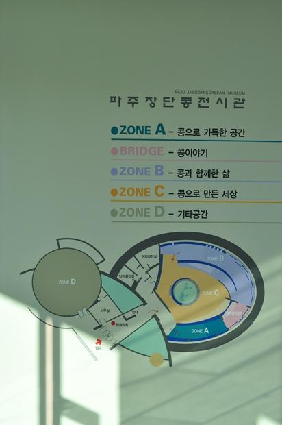 파주장단콩전시관 안내. ZONE A-콩으로 가득한 공간 BRIDGE-콩이야기 ZONE B-콩과 함께한 삶 ZONE C-콩으로 만든 세상 ZONE D-기타공간