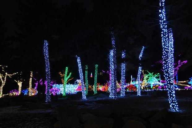 기둥에 켜진 불빛들의 모습