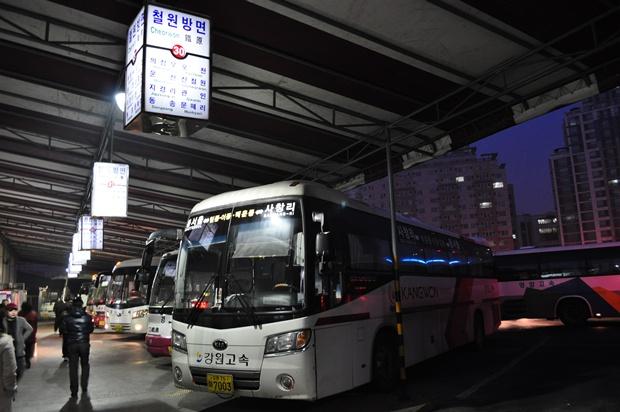 철원방면 시외버스의 모습