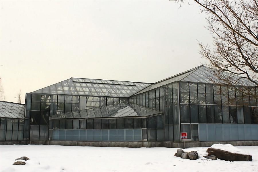 유리로 된 창문으로 둘러싸여 있는 선인장 전시관의 외관