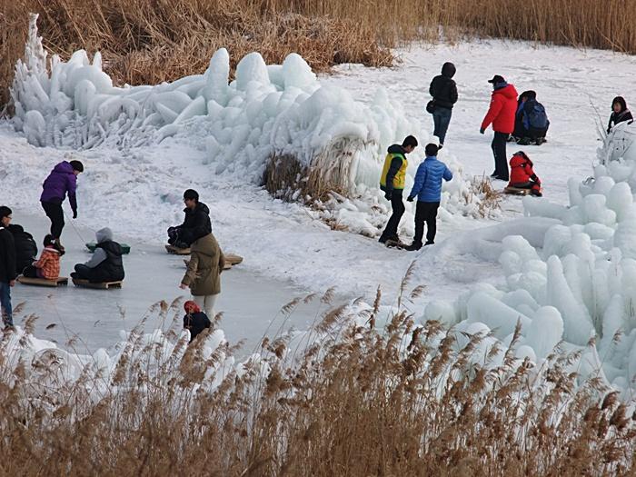 얼음조각들이 구비되어 있는 눈썰매장의 모습