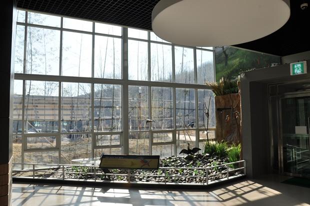 한쪽 벽면이 전부 창문으로 되어 있는 생태이야기관 내부 모습