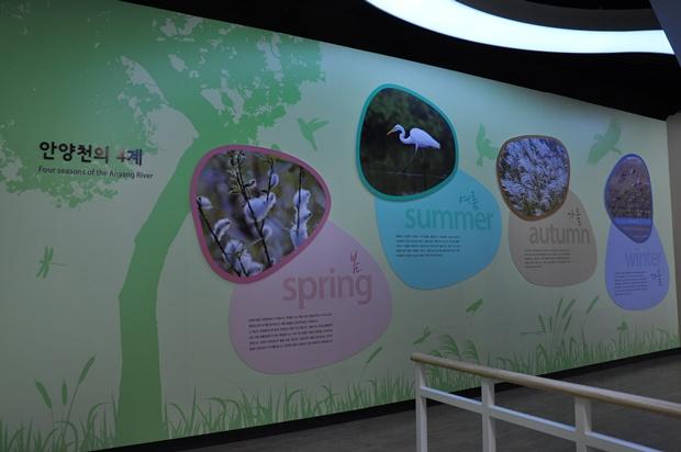 안양천의 사계절에 대한 설명과 사진들이 전시되어 있는 모습