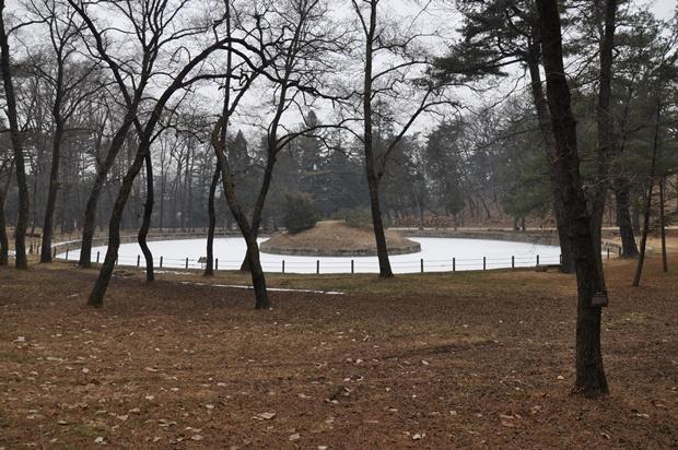 원형 연못과 그 가운데 있는 원형의 작은 언덕