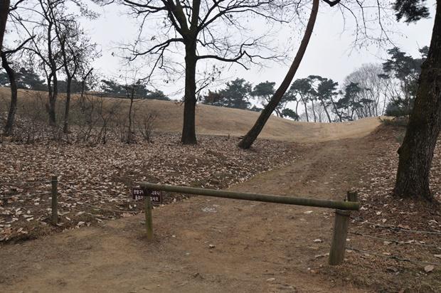 바리케이트가 쳐져있는 오솔길의 모습
