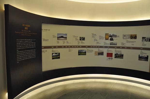곡선 형태의 벽면에 홍릉과 유릉에 대해서 설명해 놓은 모습