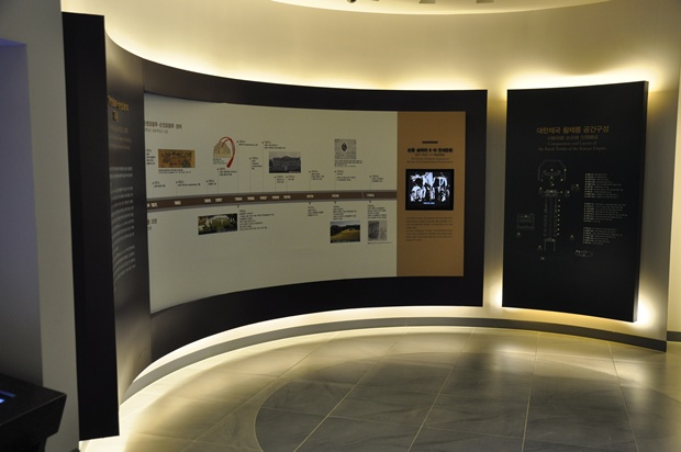 벽면에 부착되어 있는 홍유릉에 대한 설명 및 스크린의 모습