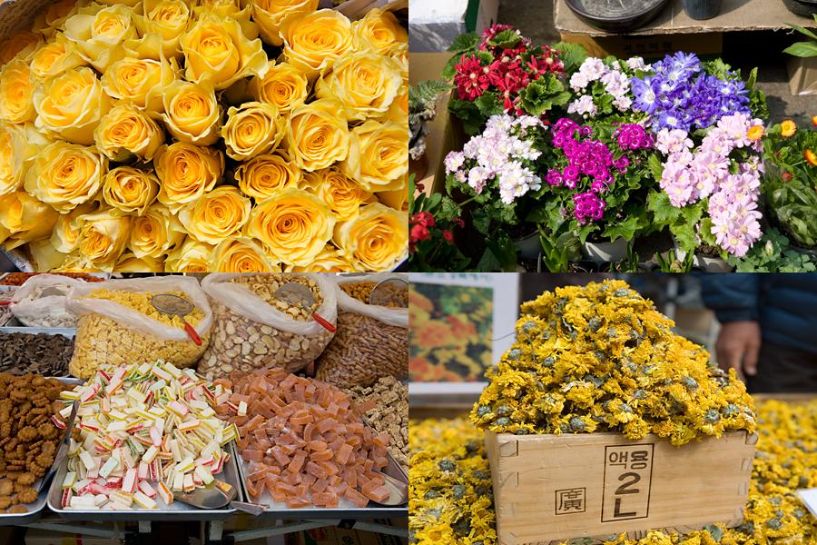 노란 장미, 알록달록한 꽃들, 쌓여 있는 노란 꽃, 진열되어 있는 옛날과자들