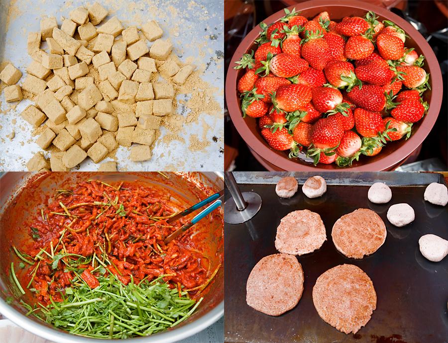 인절미, 딸기, 호떡, 그릇에 담겨 있는 양념과 야채의 모습