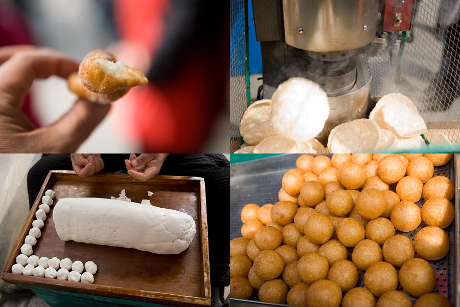 찹쌀꽈배기, 뻥튀기, 동그란 참쌀떡, 커다란 밀가루 반죽과 동그랗고 작은 반죽의 모습