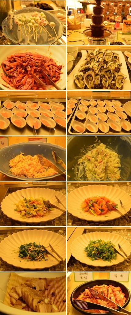 샐러드, 나물등 샐러드바에 여러가지 음식들