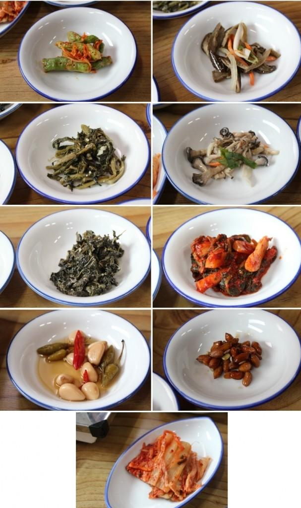 오이소박이, 가지볶음, 버섯무침, 총각김치, 땅콩 볶음, 배추김치, 마늘쫑, 나물무침, 취나물