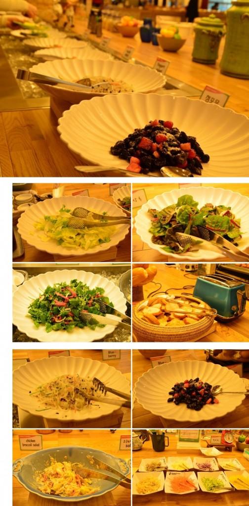 샐러드, 빵등 샐러드바의 음식들