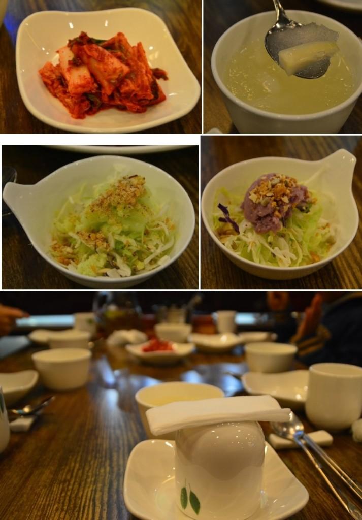 김치, 샐러드등 기본반찬들