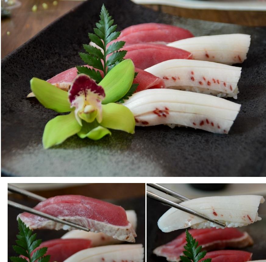 장식꽃과 함께 담겨 있는 참치 초밥, 흰색 참치 초밥, 겉표면을 살짝 익힌 참치