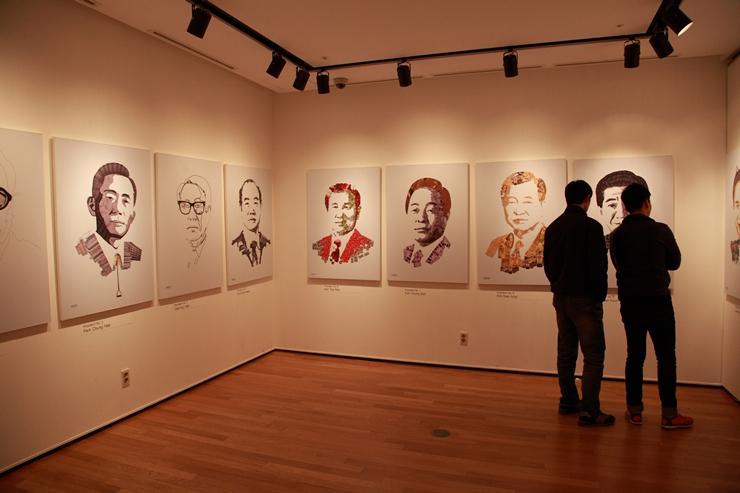 그래픽을 이용하여 제작한 대통령들의 초상