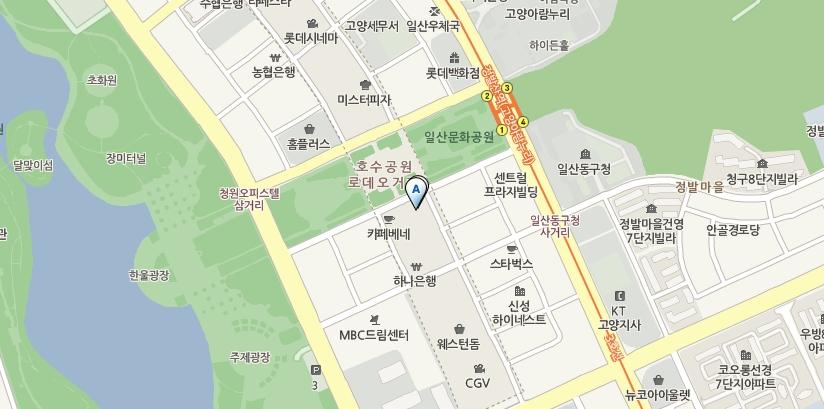 청목의 위치가 표시된 지도의 모습, 031-906-6188 경기도 고양시 일산동구 장항동 858