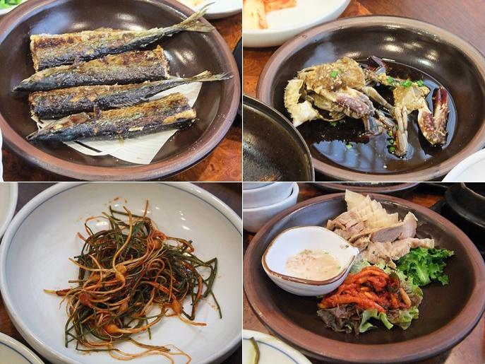 생선구이, 간장게장, 보쌈, 나물