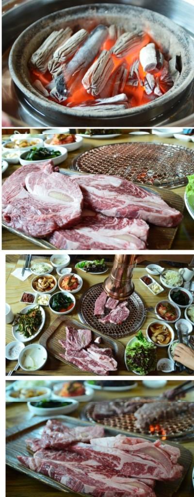 맨 위에 사진부터 숯불 / 고기의 모습 / 불판에 올라간 고기 / 불판에서 익고있는 고기