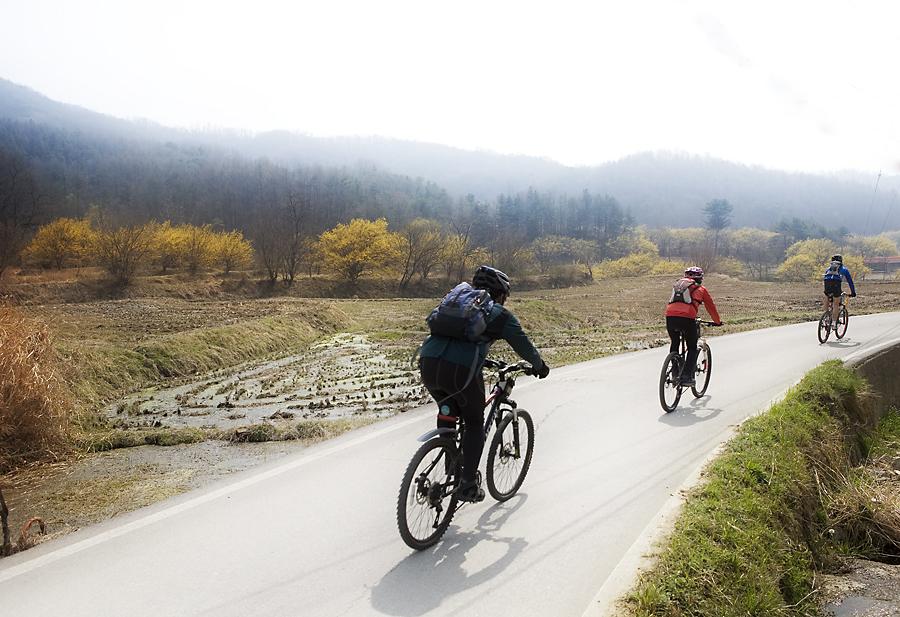길을 따라 자전거를 타는 모습