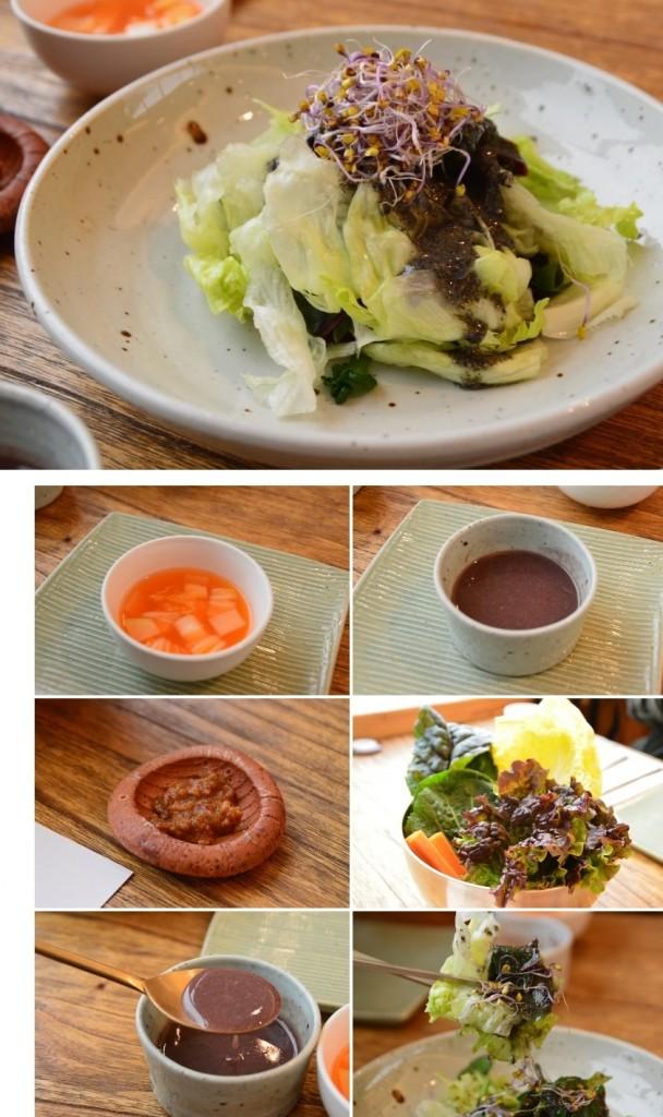 샐러드, 물김치, 야채등 기본반찬