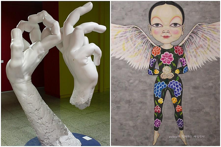 (왼쪽)두개의 손모양의 전시물 (오른쪽)날개를 단 사람의 그림