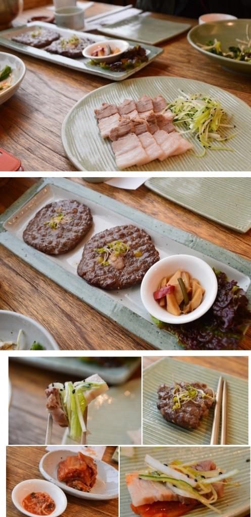 위에 사진부터 떡갈비와 보쌈 / 떡갈비 / 보쌈을 김치에 싸먹는 모습