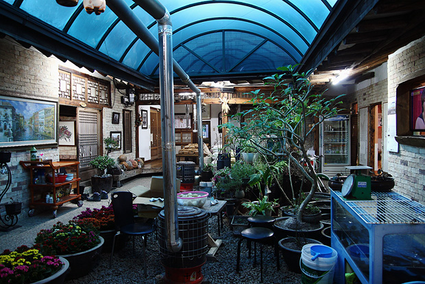 네모난 마당공간에 만든 작은 정원의 모습