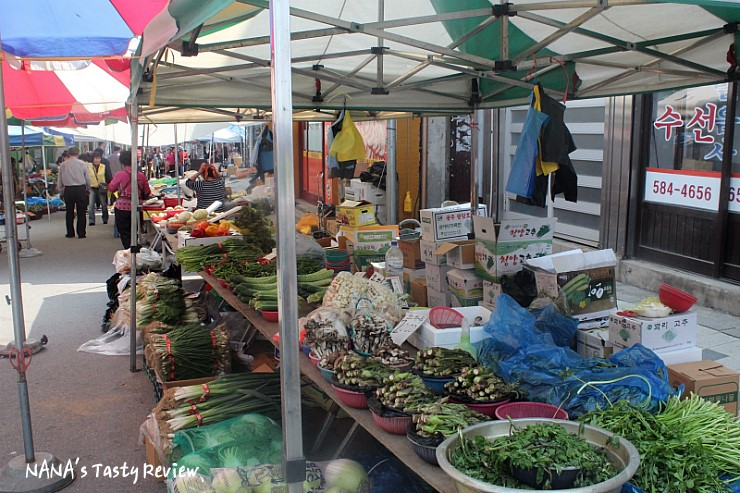 노상에 진열되있는 야채들