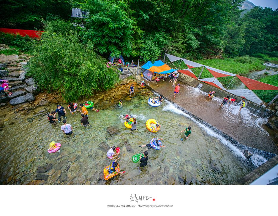 맑은 계곡물에서 물놀이 하는 사람들의 모습