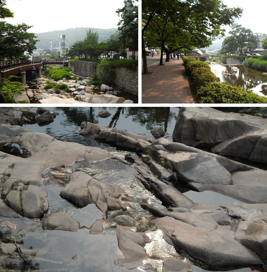 (위왼쪽)계곡의 풍경 (위오른쪽)가로수길 (아래)바위 사이로 흐르는 물