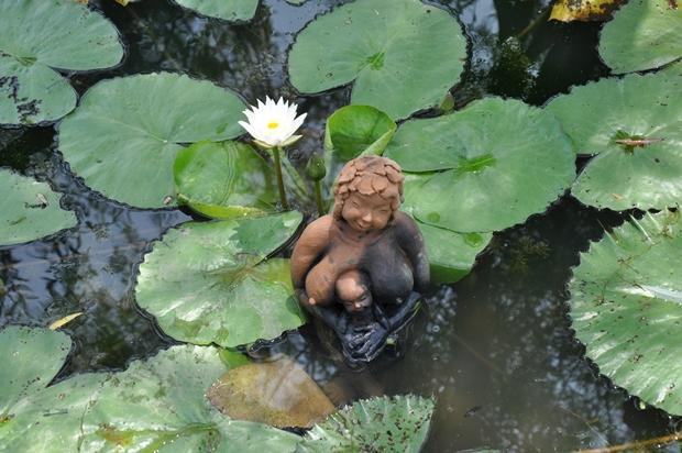 연못 속 수련과 그 위의 흙인형 작품의 모습