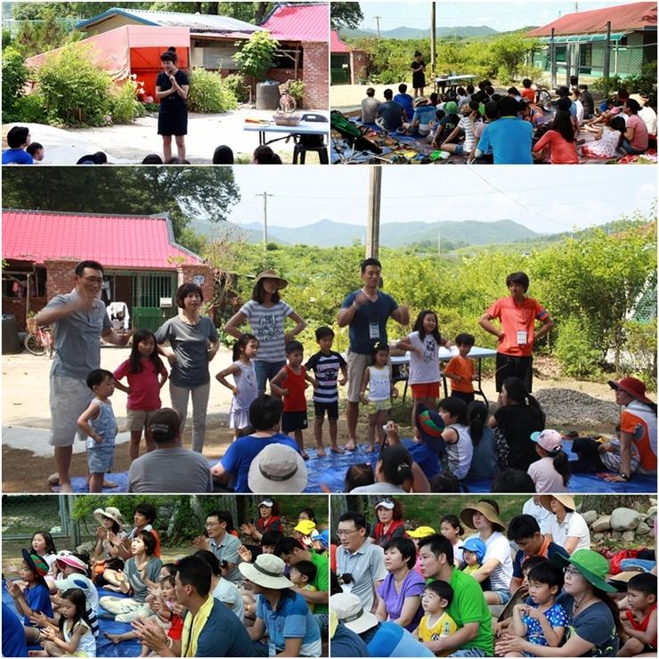 구연동화 선생님의 말을 경청하는 사람들, 가족이 나와서 율동하는 모습, 집중하는 가족드의 모습, 박수치는 가족들의 모습, 구연동화를 하는 선생님의 모습