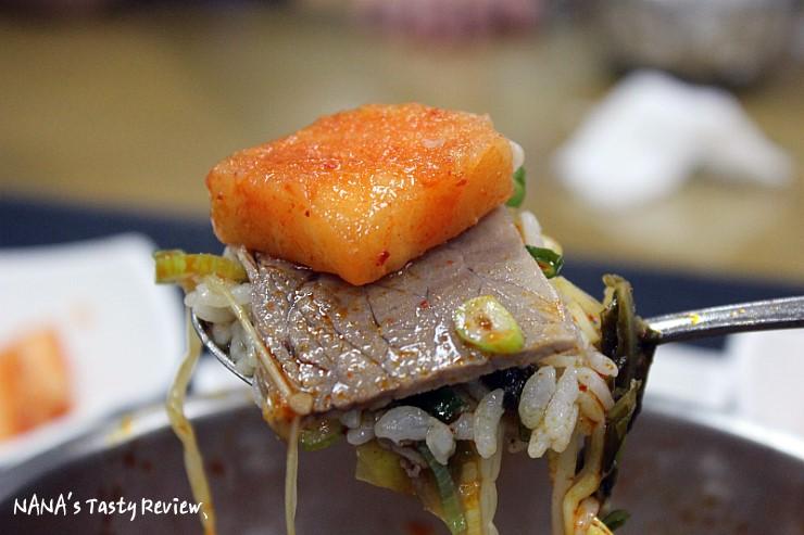 깍두기와 안성국밥의 모습