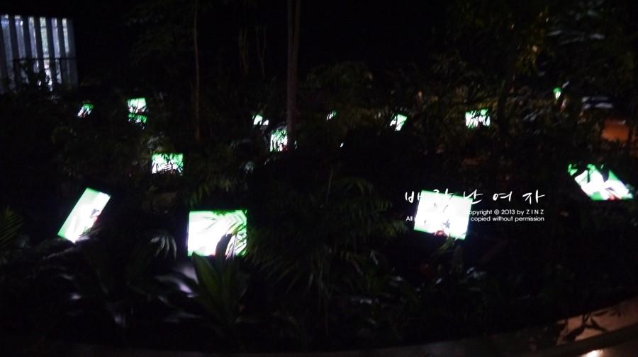 정원을 재현해놓은 곳에 티비를 설치한 '티비정원'