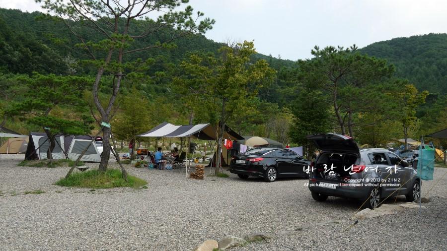 나무 사이에 세워져있는 차와 텐트
