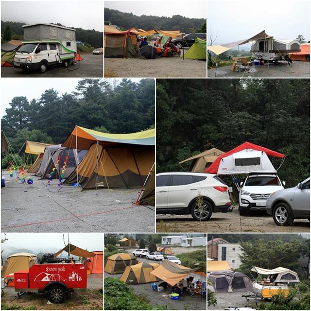 여러가지 모양의 텐트들
