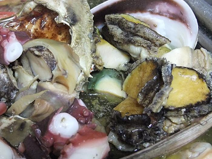 먹기좋게 잘린 해산물의 클로즈업샷