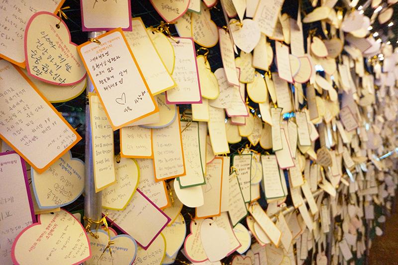 의정부 빛 축제 소원터널의 소원카드들