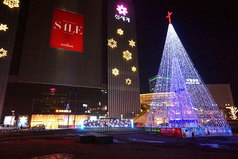 신세계 백화점 앞 빛축제 장소모습