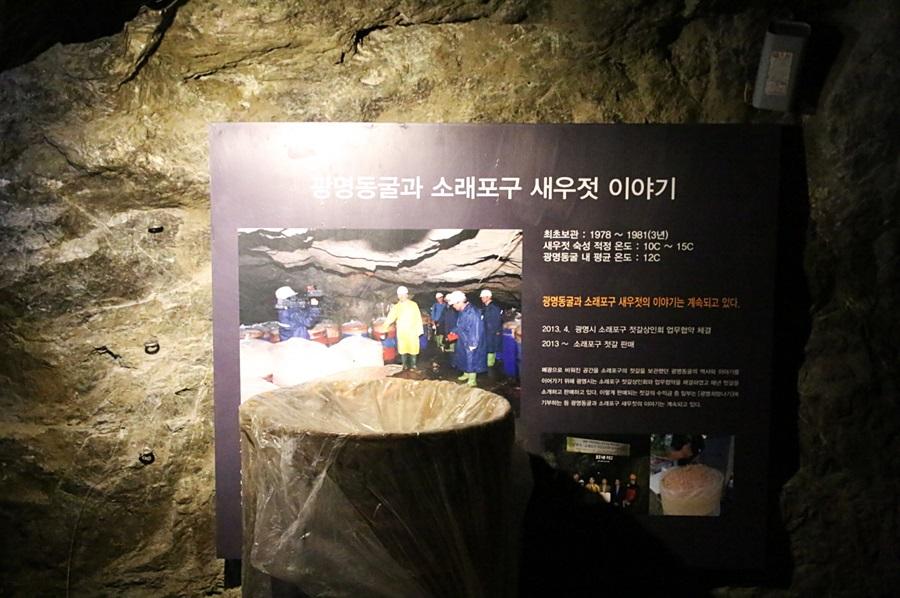 광명동굴과 소래포구 새우젓 이야기|최초보관:1978~1981년|새우젓 숙성 적정온도:10~15℃|광명동굴 내 평균 온도:12℃