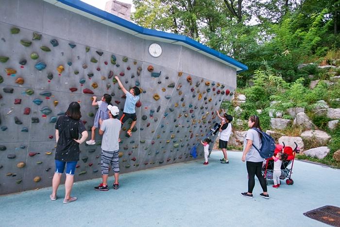 체험용 암벽등반을 하는 아이들과 부모